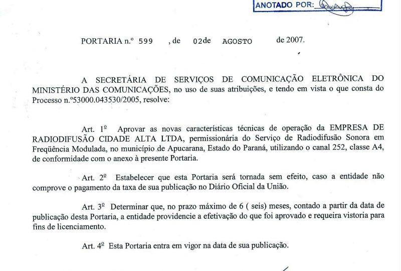 PORTARIA - MUDANÇA DE FREQUÊNCIA